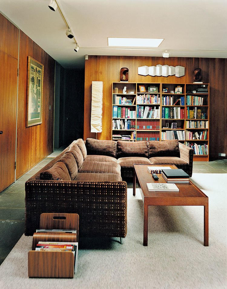 Living Room, Sectional, Sofa, Coffee Tables, Bookcase, and Track Lighting Marcel Breuer Hooper House II Den   47+ Midcentury Modern Homes Across America by Luke Hopping from Marcel Breuer Hooper House II