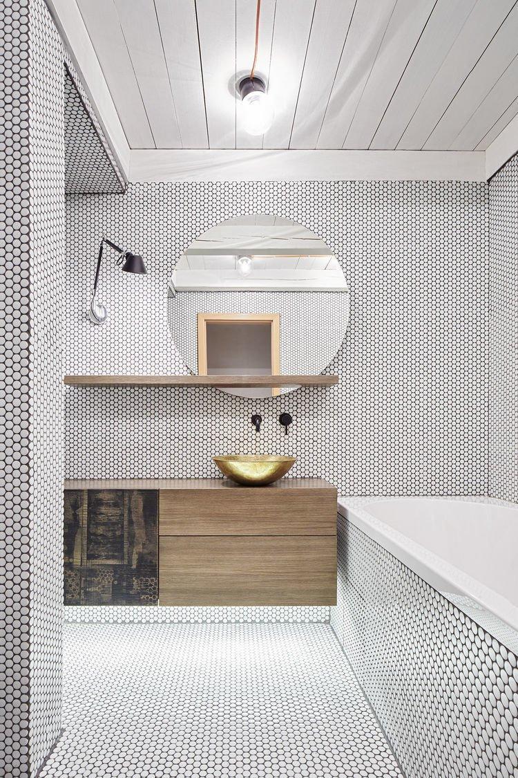 #bathroom #tile #industrial #brass Formafatal #Prague #Czech  Baths from Texture
