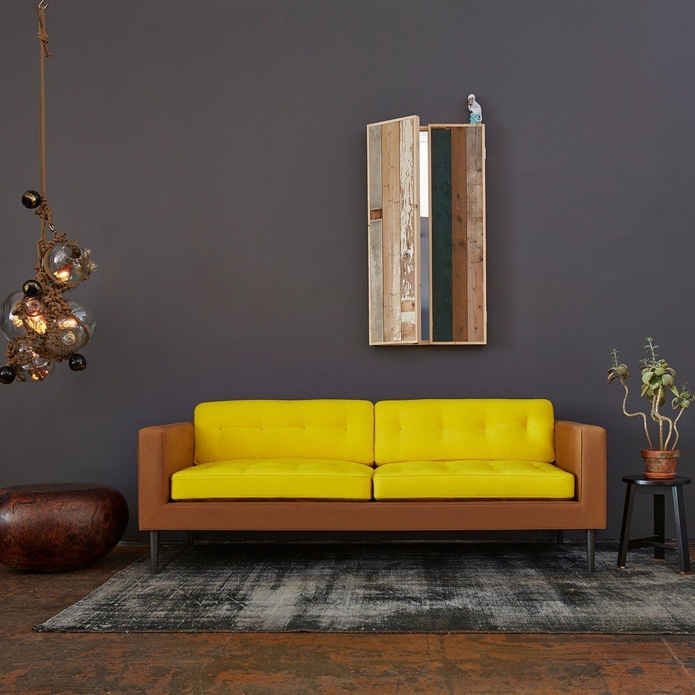 #interior #design #interiordesign #yellow #camel #sofa #yellowsofa #gray #graywall #wood #lighting #ropelights #ropelighting #succulence #1970s #lindseyadelman #tardi #tardisofa #color #colorful #decor #homedecor  36+ Interior Color Pop Ideas For Modern Homes