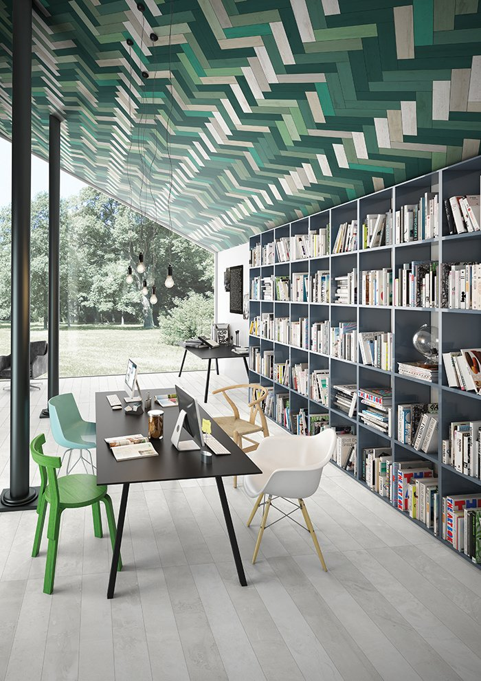 #interior #design #interiordesign #tile #color #green #industrial #woodfloors #1970s #grainpattern #library #chubbies #modern #eames #eameschair #graphic #geometric #vibrant #pattern #openfloorplan #41zero42 #ucolor #kaleidoscope #hues #boldcolor #saturated   36+ Interior Color Pop Ideas For Modern Homes