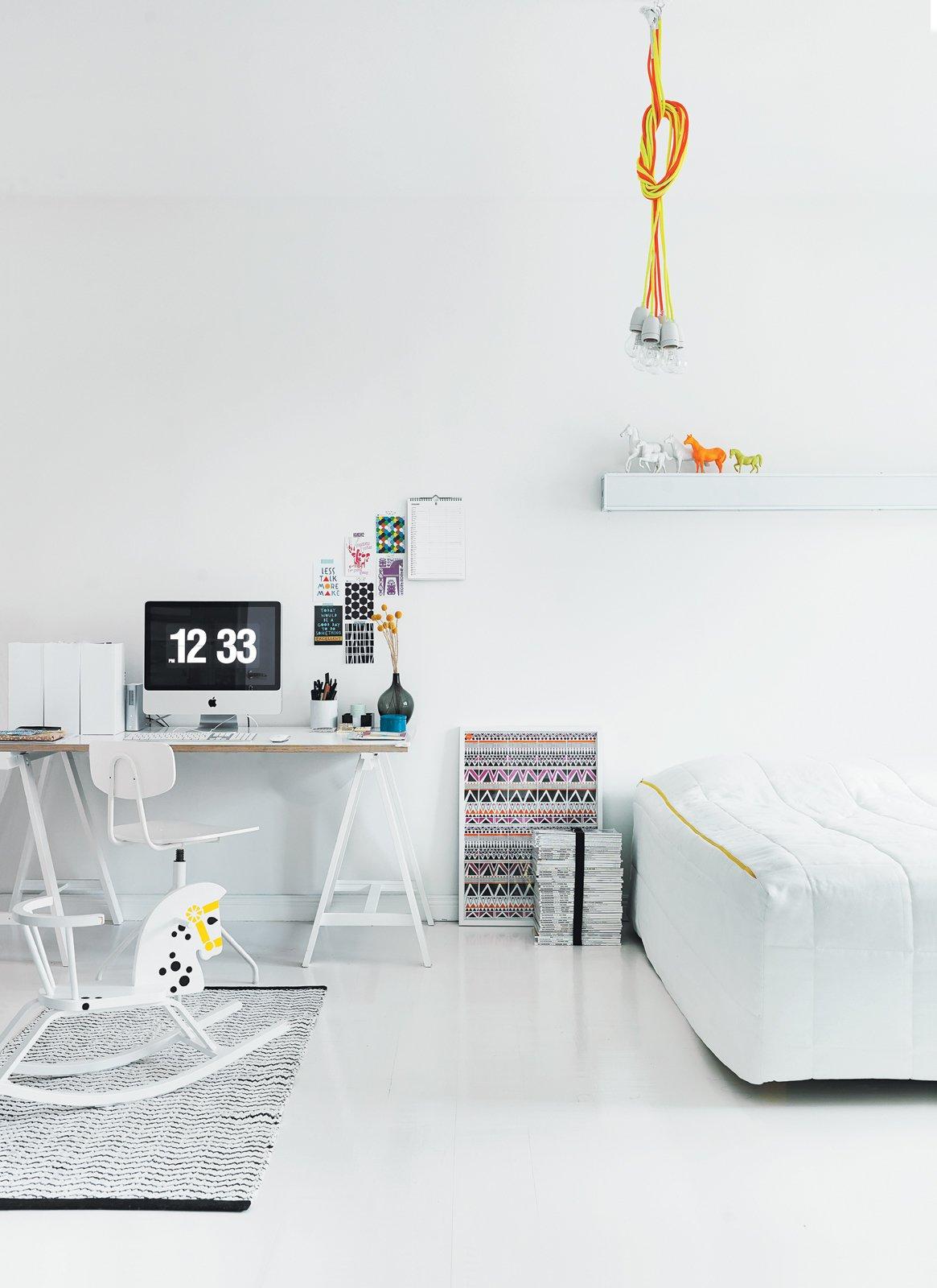 #interior #design #interiordesign #masterbedroom #couchbed #ikea #ikeadesk #rockingchair #rockinghorse #modern #budget #susannavento #jussivento #helsinki #apartment #cozy #quirky #whiteinterior #white #palette #blackaccents #neon #glow #trestledesk #desk #huuto #homeoffice #lighting #chordlights #chordpendantlight   36+ Interior Color Pop Ideas For Modern Homes
