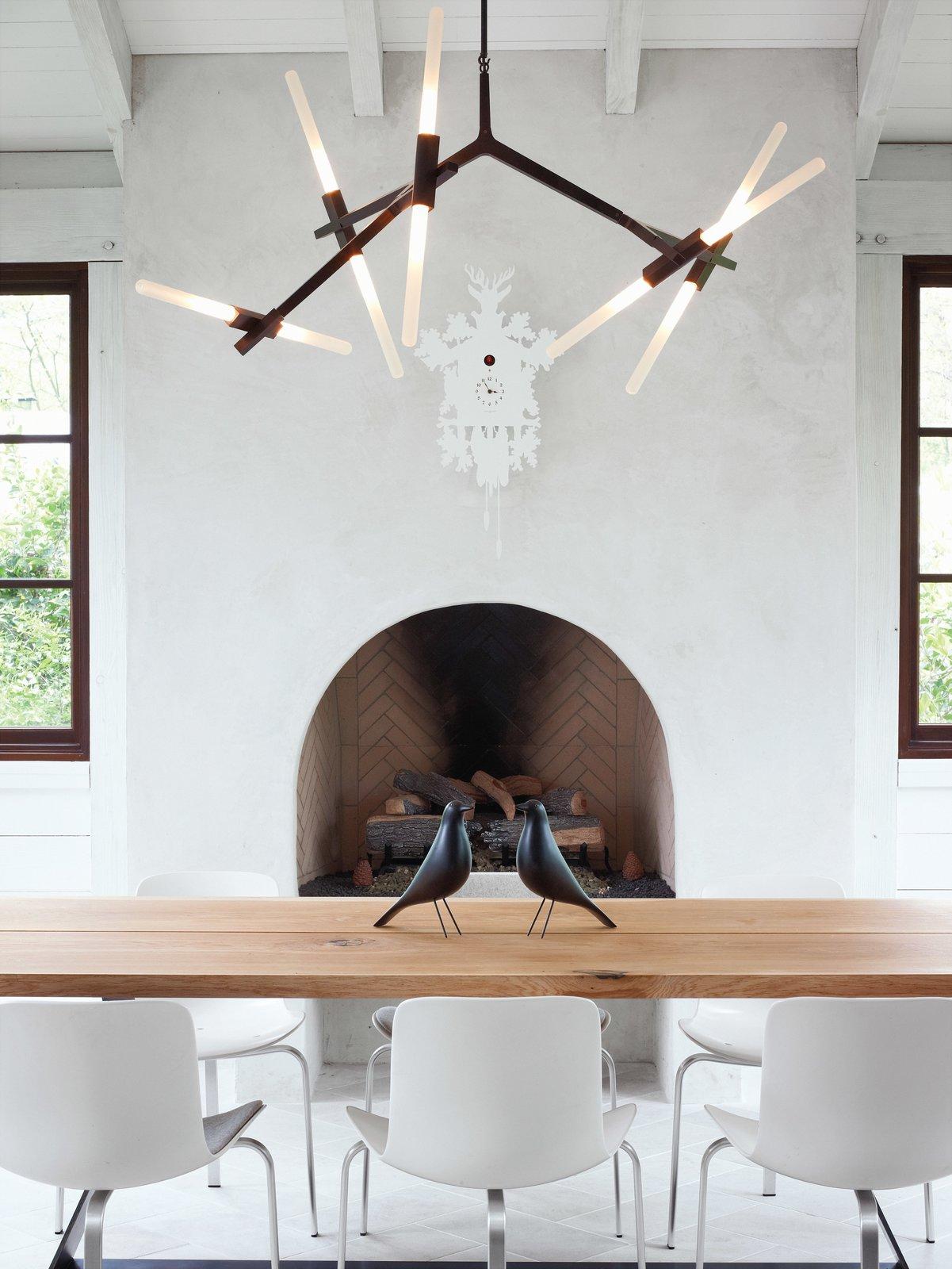 #interior #fireplace #modern #diningroom #chandelier #woodfireplace #rustic #bronze #lindseyadams #roll&hill #terrydwan #folkart #eames #eameshousebirdds #cuckooclock #Diamantini&Domeniconi #pk8 #republicoffritzhansen #PoulKjærlholm #kuhl-linscomb #houston #texas   97+ Modern Fireplace Ideas
