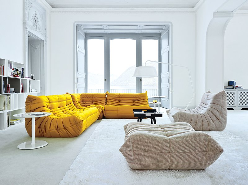 #seatingdesign #interior #inside #indoor #Togo #sofa #modern #mustard #yellow #modular #MichelDucaroy #LigneRoset #creative #anticonformist #comfortable #livingroom #lighting #window #storage #shelves   100+ Best Modern Seating Designs