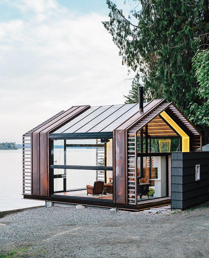 #smallspaces #tinyhouse #garage #copper #window #glass #steel #livingroom #PugetSound #VashonIsland #BillTrue #RuthTrue #Graypants   Cabins & Hideouts