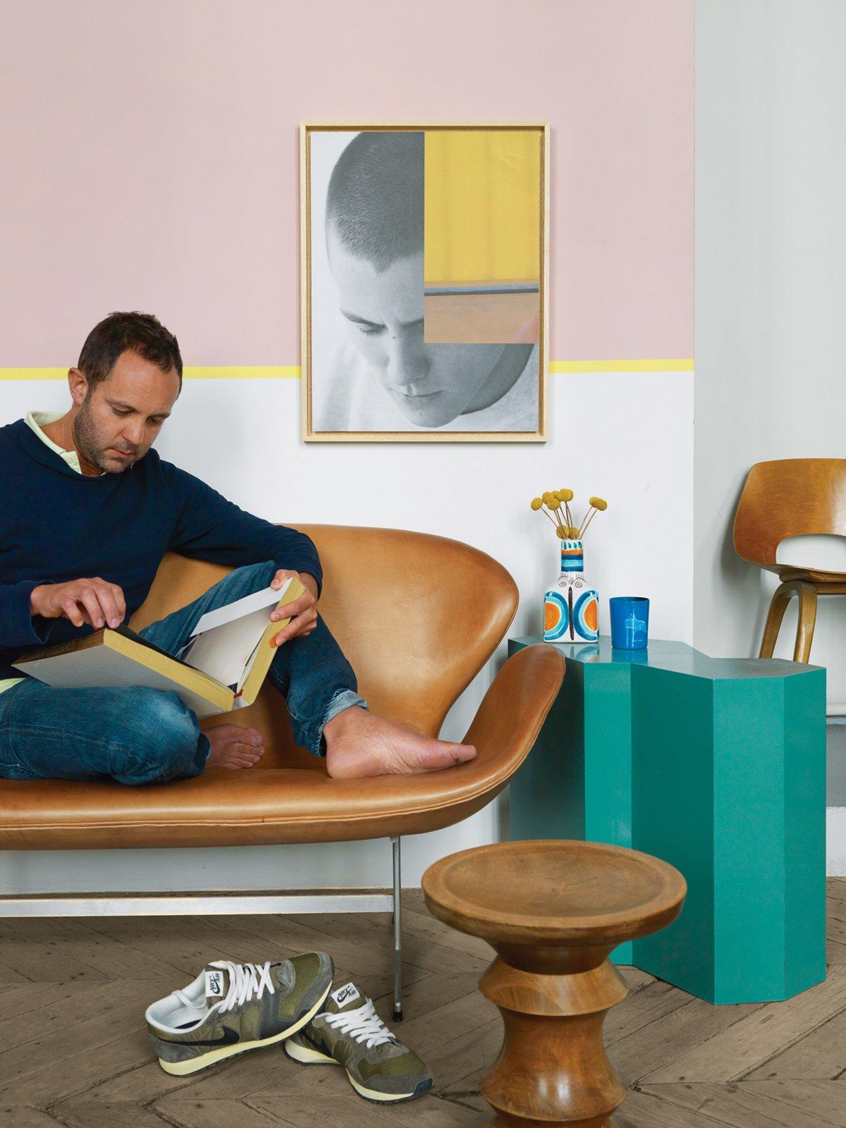 #color #interior #teal #sidetable #walnutstool #Eames #ArneJacobsen #JeanChristopheAumas #Paris #France    36+ Interior Color Pop Ideas For Modern Homes