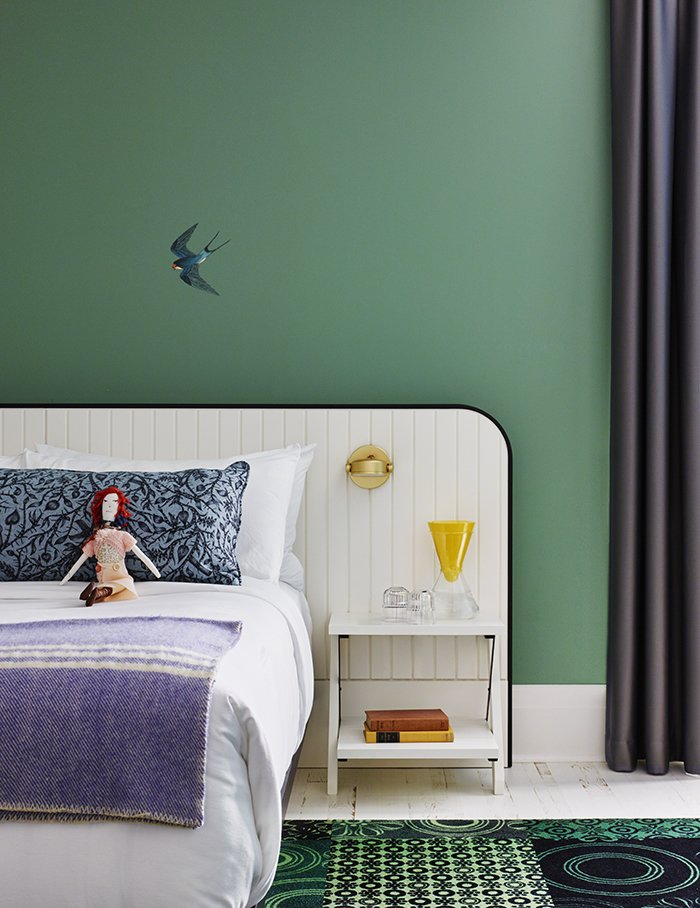 #color #interior #bedroom #green #tongtong #JohnTong #Multiflex #nightstand #sconce #RichBrilliantWilling #TheDrakeDevonshireHotel #ERAArchitectsInc #Ontario #Canada   36+ Interior Color Pop Ideas For Modern Homes