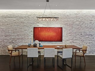 An Original Brick Wall In A Former Industrial Space In Brooklyn Is  Whitewashed For A Sense