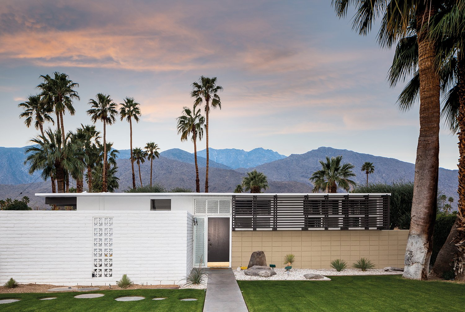 Exterior, House Building Type, Mid-Century Building Type, Flat RoofLine, Brick Siding Material, and Concrete Siding Material Another 1956 tract house with a flat roof designed by Krisel.  A Crash Course in Palm Springs Architecture