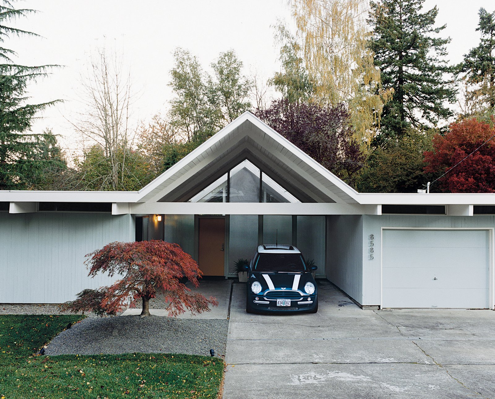 Exterior, House, Wood, and Gable When Jennifer and Mattias Segerholt decided to move to Portland after five years in Los Angeles, a shared climate-based trepidation shaped their real estate search.  Best Exterior Wood Gable Photos from A Mid-Century Modern Home in Southwest Portland