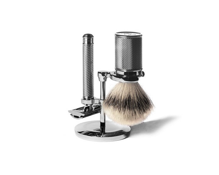 Muehle Shaving Kit, $239 from store.kaufmann-mercantile.comMade in Germany, the Muehle Shaving kit consists of a chrome-plated badger-hair brush, safety razor, and stand. If the gent in your life insists on his Gillette's, consider a gift card to a barber shop to accompany the shaving kit and perhaps he'll learn a thing or two about how it was done in the good old days. Fellow Barber has locations in San Francisco and New York. Harry's Corner Shop recently opened in New York and features a Fort Standard–designed interior.  Holiday Gift Guide: For the Gents by Diana Budds