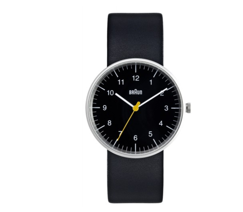 Braun Analog Watch, $200 from store.dwell.comDieter Rams and Dietrich Lubs designed the piece in the 1970s and it remains popular today. Analog watches might seem like a thing of the past, but as any well-mannered gent will attest, it's much easier and more polite to use one to mind the time instead of stealing glances at an smartphone.