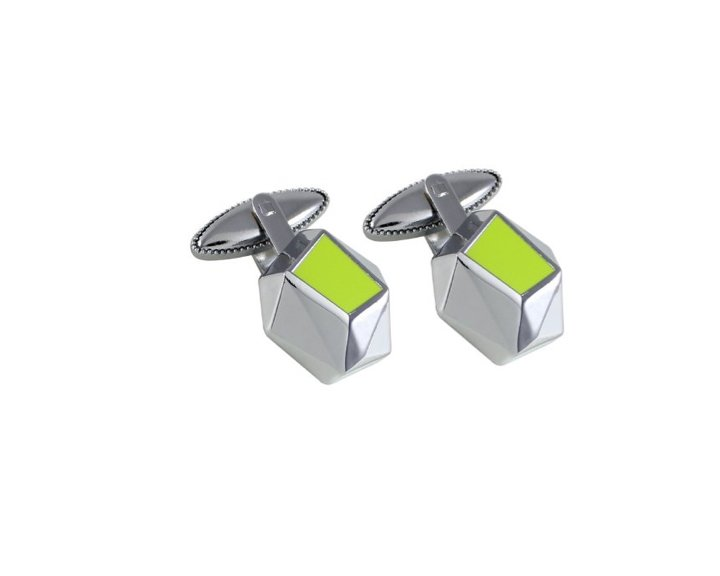 Crystalline Cufflinks, $50 from designmafia.netArchitecture firm Hariri and Hariri designed this pair of geometric cuff links for Acme featuring an acid-green accent.  Holiday Gift Guide: For the Gents by Diana Budds