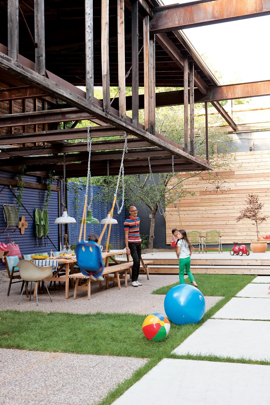 Outdoor and Grass With ingenuity and plenty of elbow grease, architect John Tong turned an old Toronto dairy into the ultimate family clubhouse. Photo by Christopher Wahl.  Photos from Play's the Thing