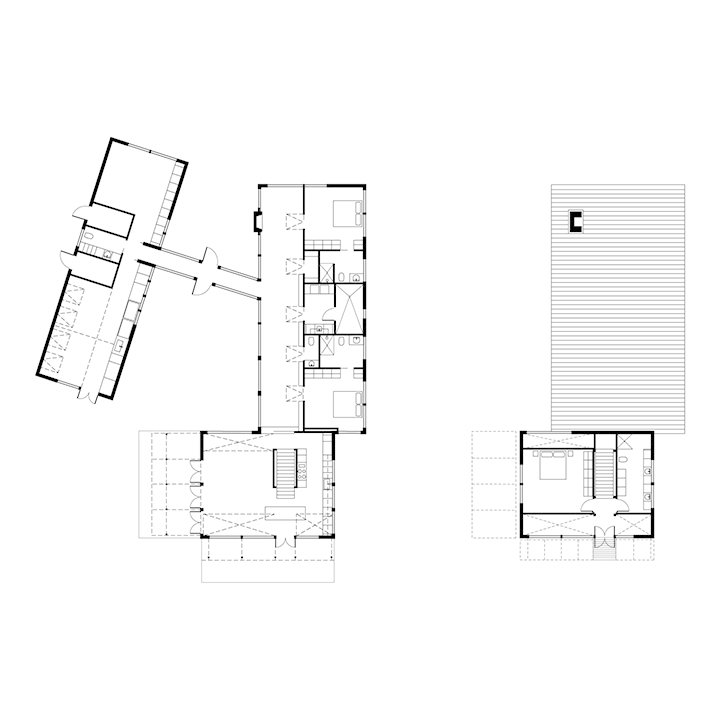 Brogan Residence Floor Plan:  A Art Studio  B Half Bathroom  C TV and Quiet Room  D Corridor  E Gathering Hall  F Guest Bedroom  G Guest Bathroom  H Laundry Room  I Kitchen  J Living-Dining Area  K Master Bedroom  L Master Bathroom  Photo 7 of 8 in A Modern Lakeside Home in Wisconsin