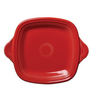 Fiestaware square-handled serving tray by Homer Laughlin China Co. For nearly 75 years, Fiestaware has been produced in West Virginia. The iconic tableware line includes this microwave-safe serving tray.
