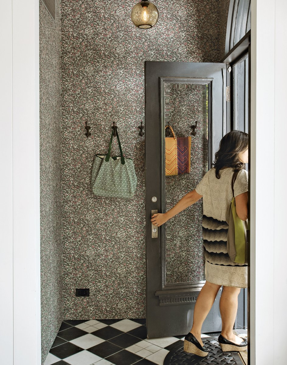 "Saving on the floor tiles meant that Casale and Crofton could spring for hand-finished wallpaper by Swedish company Sandberg. Photo by Matthew Williams.  Search ""entryway"" from Wallpaper That Fixes Walls"
