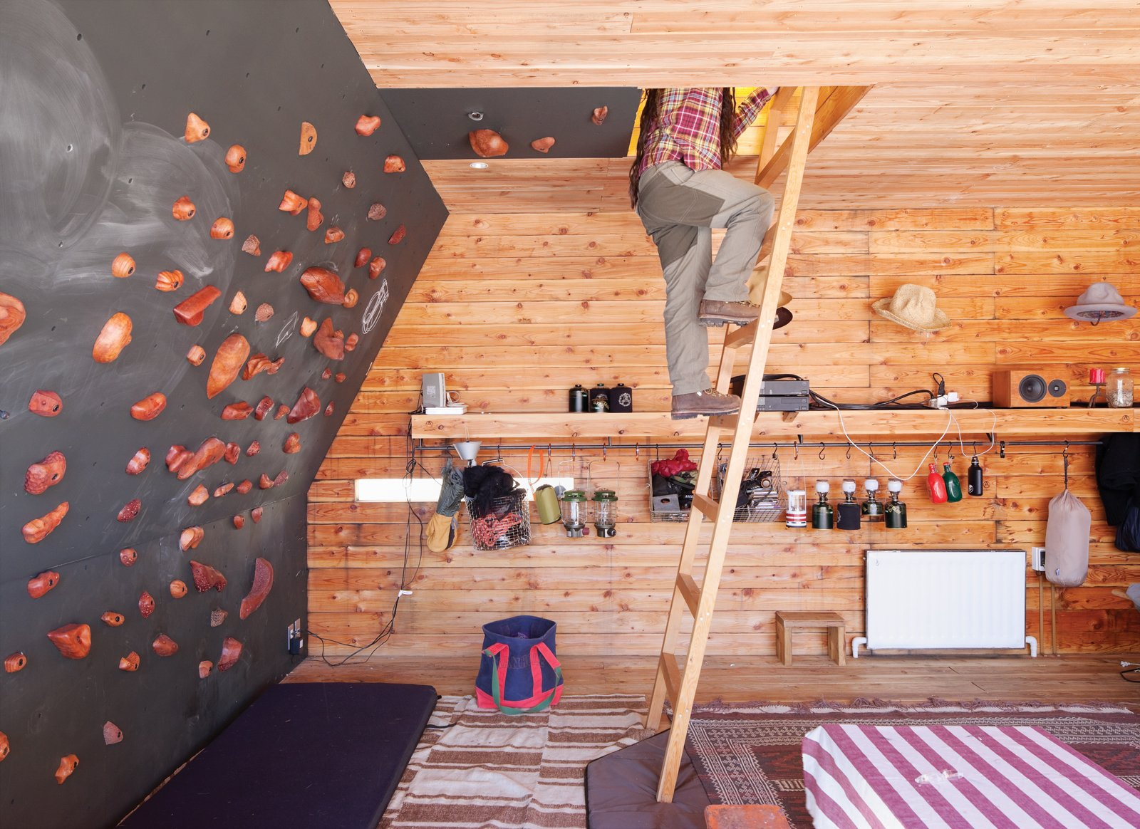 Living Room and Shelves The rooftop tent can be accessed from the interior via a wooden ladder or—for the more athletic—via a series of wall-mounted climbing holds, made by Vock and carved from persimmon-tinted hardwood.  Woodgrain from A Platform for Living