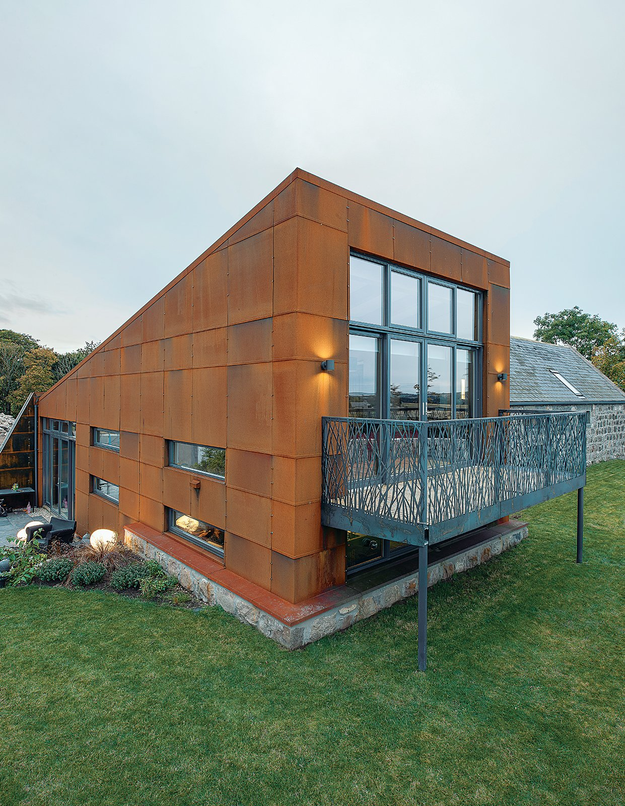 Cor-Ten steel farmhouse exterior