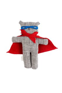 Super Ted with Red Cape by Kathryn Davey $49.00  Not to fear super teddy is here! Made of linen and filled with biodegradable sustainable fiber these stuffed super heroes come with a removable clack and eye piece.