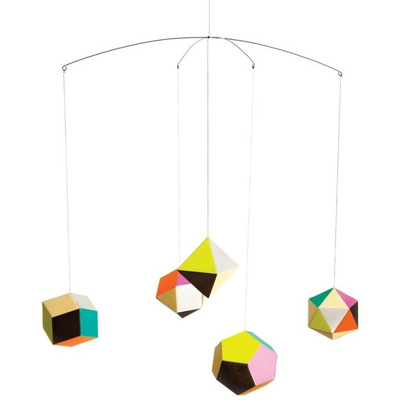 Themis Mobile Designed by Clara Von Zweigberk for Artecnica via Dwell Store $37.00  Inspired from the polyedra, designer Clara von Zweigbergk created this suspended graphic and delicate mobile to add a playful touch of vibrant color to any room.