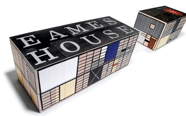 Eames House Blocks via House Industries $150.00  Take a tour of your own through the Eames House (also known as Case Study House No. 8) with this basswood block puzzle, which pays tribute to the iconographic midcentury landmark.
