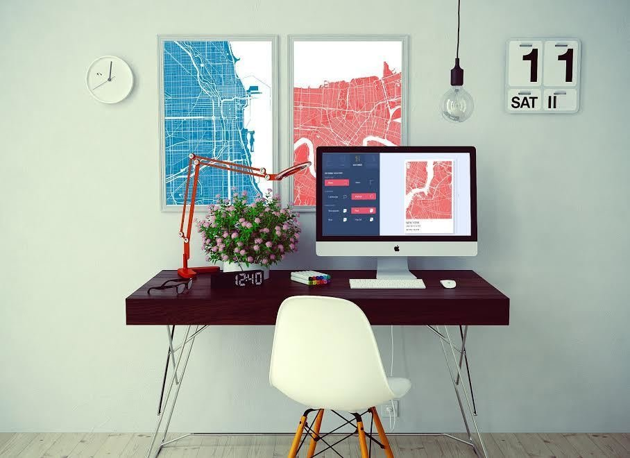 Office, Desk, Chair, Lamps, and Light Hardwood Floor GrafoMap allows you to search around the world and apply a filter to the desired map. The result is a graphic poster ready to be hung up in your home.  Map it Out! Turn Any Place in the World Into a Poster  by Matthew Keeshin