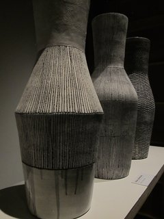 """In another area of the Human Made exhibition, South African ceramics designer Louise Gelderblom presented her latest Vessels collection. She writes from her Cape Town studio: """"The work on show here has been produced by coiling the clay, which means it has been built in layers from the bottom to the top of the piece. I try…to challenge the preconceptions of what clay is capable of and push the limits of what is possible in hand-built ceramics."""""""