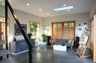Shannon Leahy designed this 800-square-foot art studio with radiant-heated floors and solar power. The solar panels are installed on the main house.