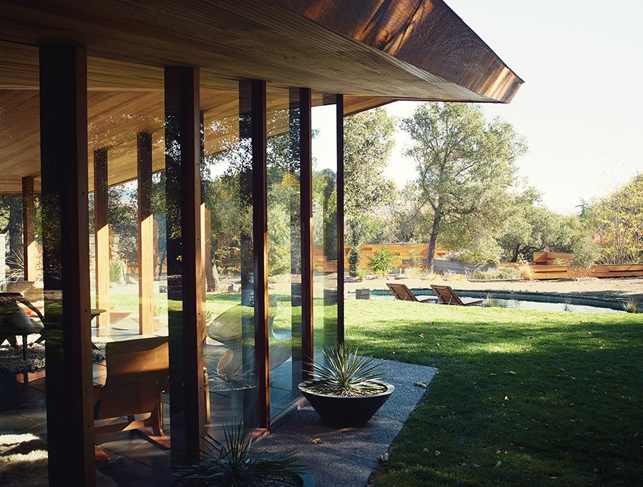 Outdoor, Large Pools, Tubs, Shower, and Grass Katherine Lambert, a partner at Metropolitan Architectural Practice (MAP), and her business associate Christiane Robbins, painstakingly restored a 1950s redwood-and-glass house in Napa, California, originally designed by Jack Hillmer of Telesis.  47+ Midcentury Modern Homes Across America by Luke Hopping from The Midcentury Home That Maintains Its Quirkiness After All These Years