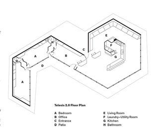 Telesis 2.0 Floor Plan  A    Bedroom  B    Office  C    Entrance  D    Patio  E    Living Room  F    Laundry–Utility Room  G    Kitchen  H    Bathroom