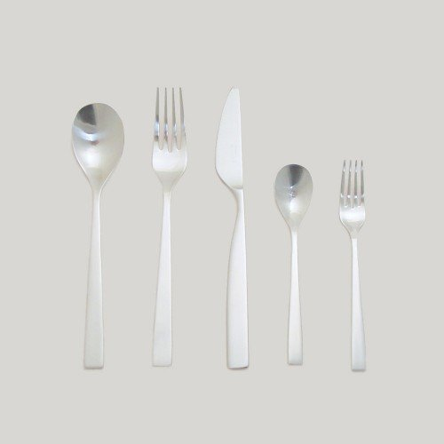 SUNAO - 5 PIECE FLATWARE PLACE SETTING $70.00  The Sunao flatware setting from Saikai is designed with nature and function in mind. The delicate curves soften the straightness of each piece, recalling a soft breeze or a ripple of water. Each slim and stretched form was designed to link the characteristics of forks and chopsticks, creating a symmetry between the different types of utensils.