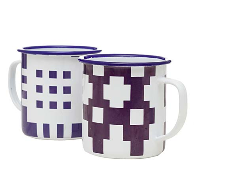 BLODWEN MUGS  You must of course offer coffee at the end of a triumphant meal. These blue and white geometrically patterned enamelware mugs in a modern Welsh design are perfect for just that or any old time a hot beverage would hit the spot.
