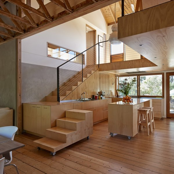 "The ground floor's adjoining staircase, as well as the kitchen cabinets and tables, can be adjusted depending the homeowner's preferences. ""The design of the house is an attempt to respond to [French novelist] Georges Perec's question, 'We should learn to live more on staircases. But how?'"" Simpson says."