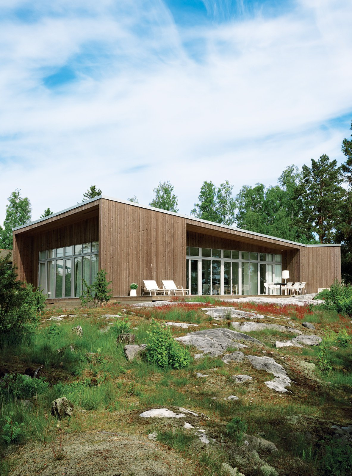 Exterior, House Building Type, Wood Siding Material, and Prefab Building Type Prefab house in Muskö, Sweden  Best Photos from An Asymmetrical Prefab Home in Sweden
