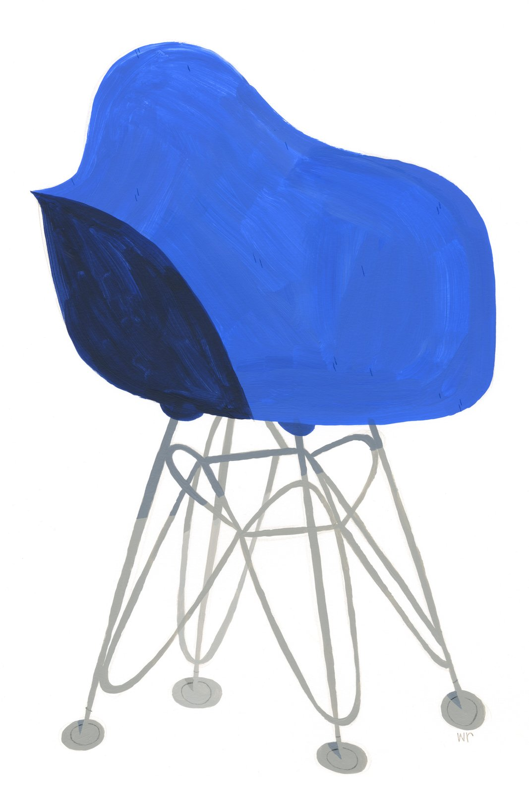 """Blue DFSR by Willie Real  """"Their designs are so beautifully simple yet bold, with tireless contemplation behind them. Their overall sense of style remains iconic today and continues to influence new designers."""" The gallery says.  Get Your Eames Fix at This Gallery   by Matthew Keeshin"""