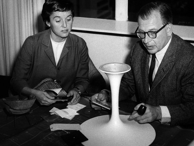 Saarinen at work on the Pedestal model. He started with hundreds of drawings, and moved on to ¼ scale models, which were then set up in a room the size of a dollhouse.  Photo 2 of 10 in Design Dictionary: Tulip Chair