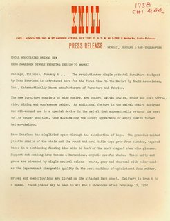 The arrival of the Pedestal collection was celebrated in this 1958 Knoll press release.
