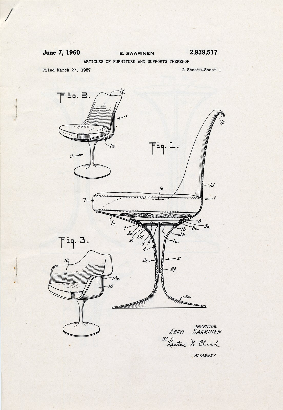 Though Saarinen completed the design in 1956, the patent drawing for the Tulip Chair was filed on June 7, 1960.  Photo 4 of 10 in Design Dictionary: Tulip Chair