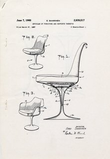 Though Saarinen completed the design in 1956, the patent drawing for the Tulip Chair was filed on June 7, 1960.