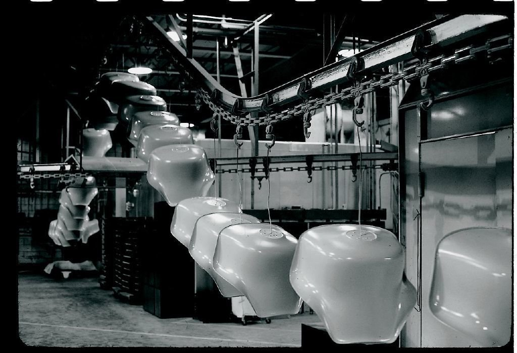 An archival shot of the Tulip Chairs in production at the Knoll factory.  Photo 6 of 10 in Design Dictionary: Tulip Chair