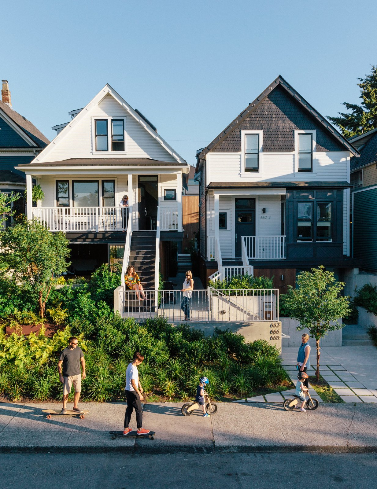 Exterior, House Building Type, and Gable RoofLine In Vancouver's Strathcona district, two side-by-side lots now hold seven residences—thanks to a thoughtful renovation of a pair Edwardian houses and the addition of a laneway, or alley, building by Shape Architecture. The team salvaged as much 120-year-old siding as they could for use on the street-facing facades.  Best Photos from As Housing Costs Soar, Two Homes Multiply to Seven