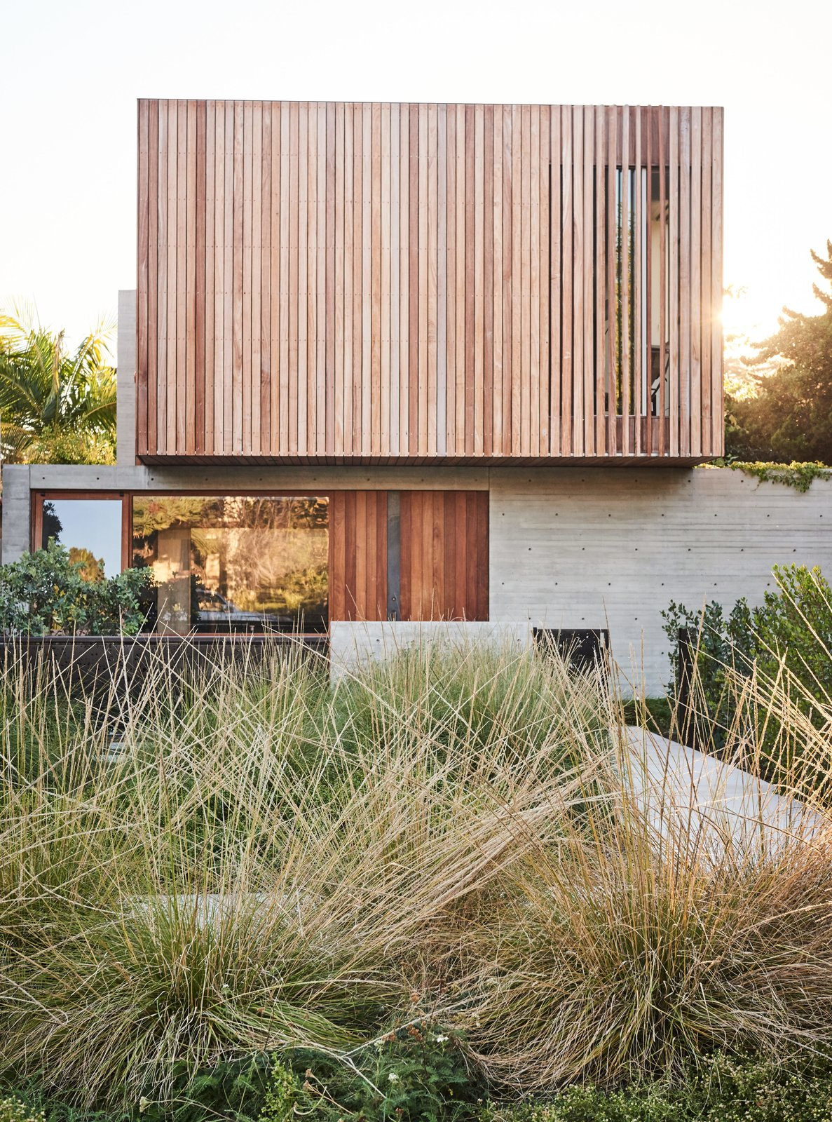 Exterior, House Building Type, Flat RoofLine, and Wood Siding Material A landscape of native grasses designed by GSLA Studio complements the raw textures of the concrete-and-ipe front facade.  Photos from For the Highest Green Honor, One Couple Pulls Out All the Stops