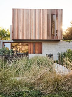 A landscape of native grasses designed by GSLA Studio complements the raw textures of the concrete-and-ipe front facade.