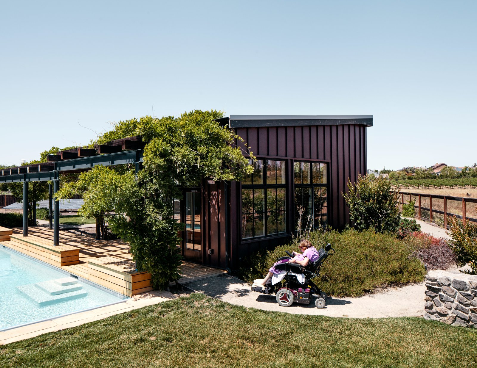 Exterior, Shed RoofLine, and House Building Type Architect Erick Mikiten helped Melanie and David Maher build a house in Livermore, California.  Photo 1 of 11 in This Home Proclaims Wheelchair Access Shouldn't End Outdoors