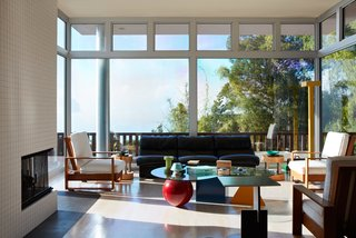 Sottsass designed much of the inside furniture, including the vintage Hawaiian Koa lounge chairs and Hyatt side tables.