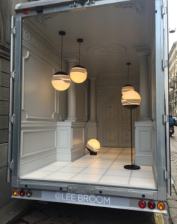 Lee Broom's new Optical lighting collection is taking a spin around Milan—in the back of a truck!
