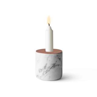 Set a mood with the Marble and Copper Chunk Candlestick Holder. The play of elegant marble and copper makes this table accent an ideal Valentine's Day decoration, while still being subtle and modern.