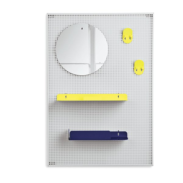 Alfred shelf by Roman Pin and Florent Bouhey-Fayolle for Hartô  Hooks, folded-metal shelves, and a mirror can be arranged in myriad configurations against the mesh backing.