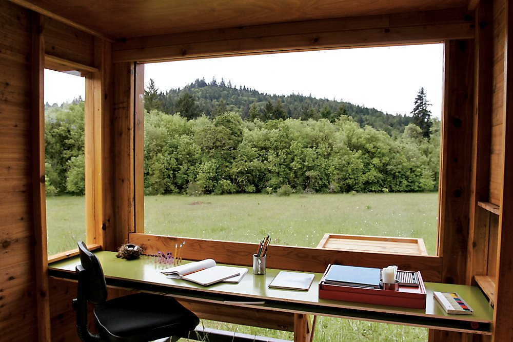 When she visits the Watershed, Kathleen's writing accoutrements are limited to paper and pencil.  Modern, Off-the-Grid Homes by Aileen Kwun from Modern Off-the-Grid Retreat in Oregon