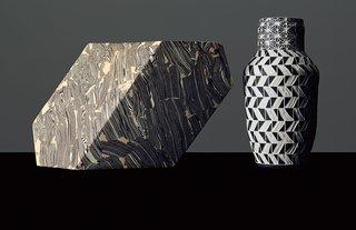 8th Anniversary: Pottery  Small Oblique vessel by Cody Hoyt, $250, and Light Herringbone vase by Dana Bechert, $485